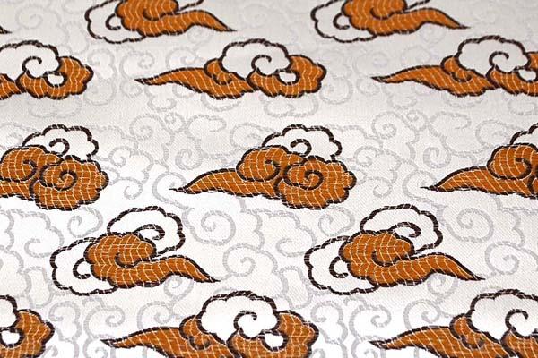 サテンジャガード 雲 オフ(生成)×ゴールド