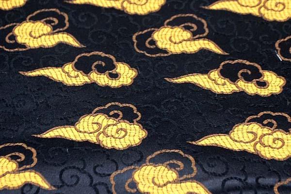 サテンジャガード 雲 黒×ゴールド