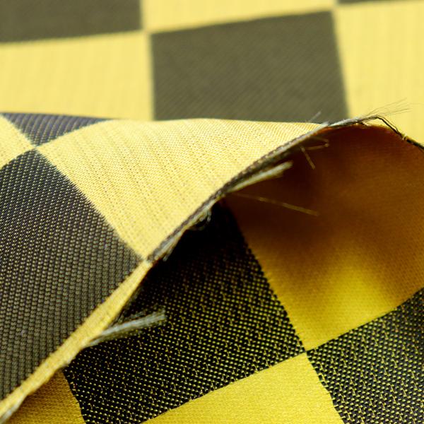 よさこいや舞台衣装に最適な 光沢感のある素材 サテンジャガード 市松格子 黄色(金)×黒