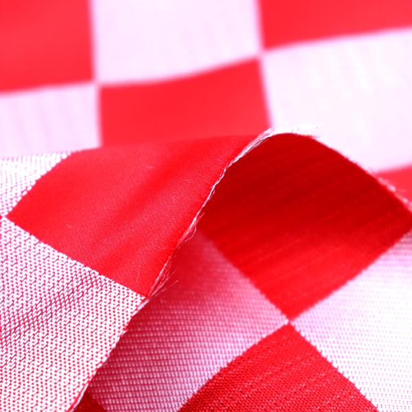 よさこいや舞台衣装に最適な 光沢感のある素材 サテンジャガード 市松格子 赤×銀