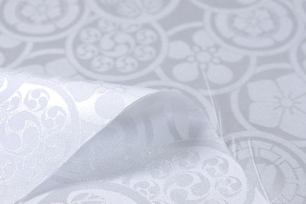 カチオンジャガード 家紋柄 白