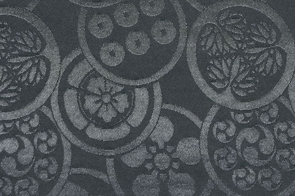 カチオンジャガード 家紋柄 黒