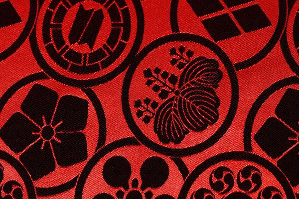 カチオンジャガード 家紋柄 赤黒