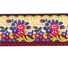 SOULEIADO ソレイアード かわいい小花柄の ギャロンテープ ラ・ピチューヌ(黄色・赤色)(SLF21-C)