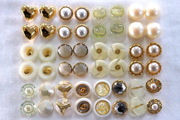メーカー廃番品 ヴィンテージ ジルコニア入 アンティークボタン ホワイト・ゴールド系(小)2 (13~15mm計48個)
