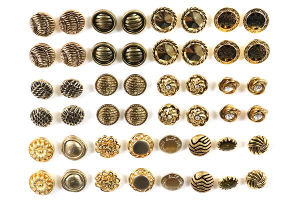メーカー廃番品 ヴィンテージ ジルコニア入 アンティークボタン ゴールド系(小)5 (13~15mm計48個) bt19-5