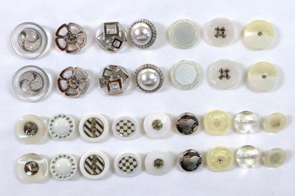 メーカー廃番品 ヴィンテージ ジルコニア入 アンティークボタン ホワイト・シルバー系25
