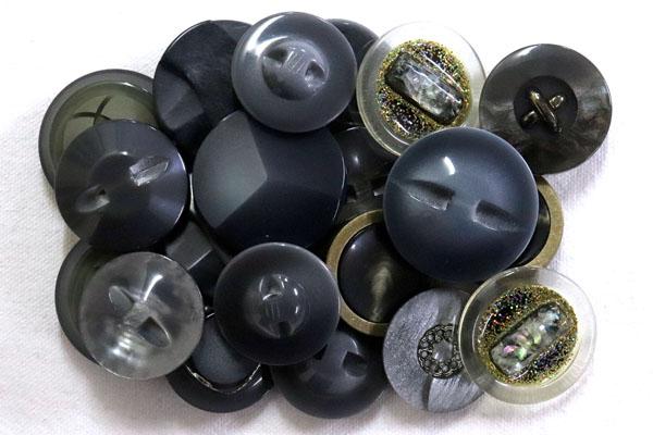 メーカー廃番品 ヴィンテージ ジルコニア入 アンティークボタン グレー系1 (23~28mm10組 20個)