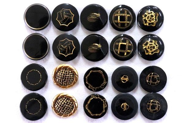 メーカー廃番品 ヴィンテージ ジルコニア入 アンティークボタン ブラック×ゴールド系2 (21~23mm10組 20個)