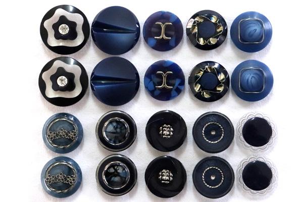 メーカー廃番品 ヴィンテージ ジルコニア入 アンティークボタン ネイビー系1 (23~30mm10組 20個)