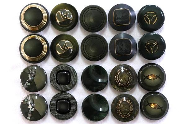 メーカー廃番品 ヴィンテージ ジルコニア入 アンティークボタン ダークグリーン系1 (23~25mm10組 20個)
