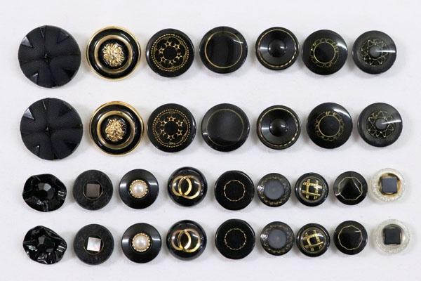 メーカー廃番品 ヴィンテージ ジルコニア入 アンティークボタン ブラック・ゴールド系28