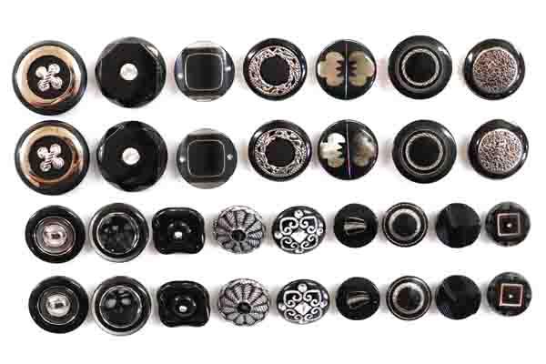 メーカー廃番品 ヴィンテージ ジルコニア入 アンティークボタン ブラック・シルバー系33