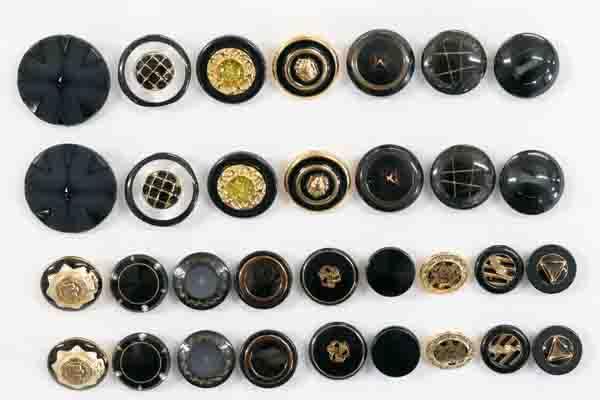 メーカー廃番品 ヴィンテージ ジルコニア入 アンティークボタン ブラック・ゴールド系37