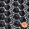 チュールレース服地 花柄 黒 《ニットではありません》  【50cm販売】  (la540)