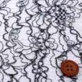 ラッセルレース生地(ニット生地ではありません) 白×黒 【50cm販売】  (la553)