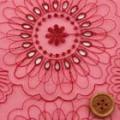 オーガンジーレース生地(ニット生地ではありません) 花柄 赤 【50cm販売】  (la574)