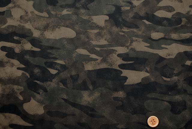 チュールニットプリント生地 カモフラージュ柄(迷彩) カーキグリーン系 【50cm単位】《再値下げ》 (la580)