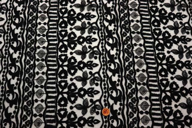 オーガンジーレース生地 黒 【50cm販売】  (la596)