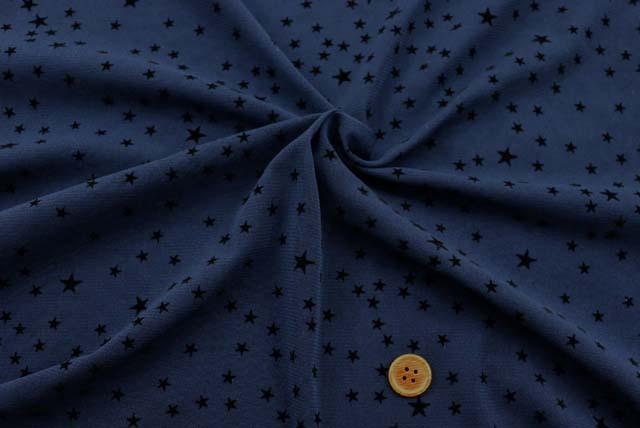 パワーネットフロッキープリント生地  星柄 紺地×黒  【50cm単位】《再値下げ》  (la606)
