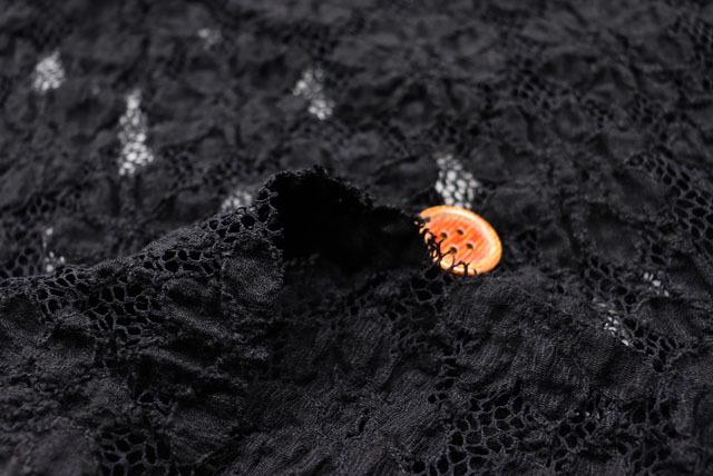 ラッセルレースプリント生地 花柄 黒 【50cm単位】 (la631)