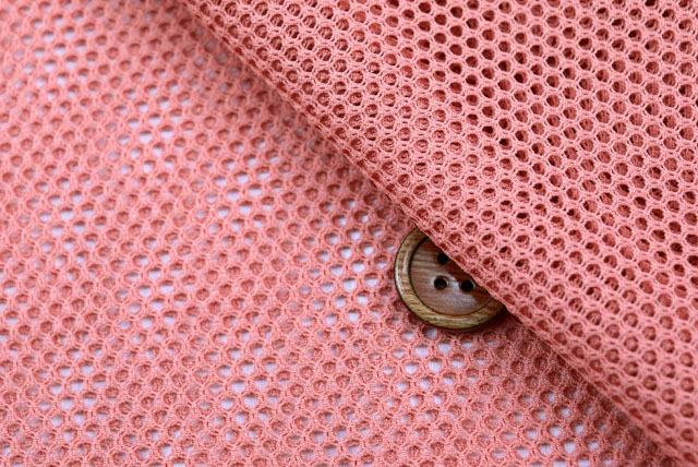ファビーニット生地(ダブルハニカム) 濃いサーモンピンク 【50cm販売】(全12色) (la680)