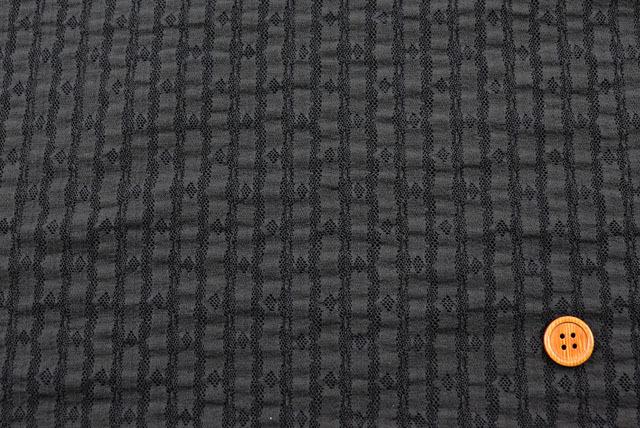 ストレッチラッセルストライプレース生地 すみ黒  【50cm単位】(la694)