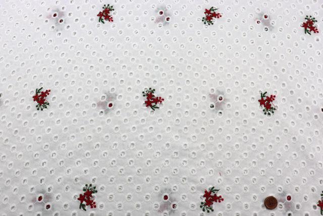 コットンレースの刺しゅう生地 (ニット生地ではありません) 白地 花の刺しゅう柄 【50cm単位】 (la712)