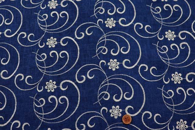 麻混の刺しゅうレース生地 (ニット生地ではありません) 紺地×ベージュ 【50cm単位】 (la716)
