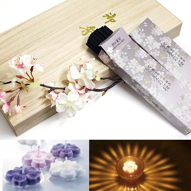 日本香堂 線香 宇野千代のお線香 淡墨の桜 桐箱 浮きローソク セット