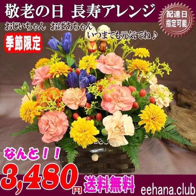 売れてます★敬老の日!人気の長寿アレンジが!3,480円【送料無料】ネット特価!!