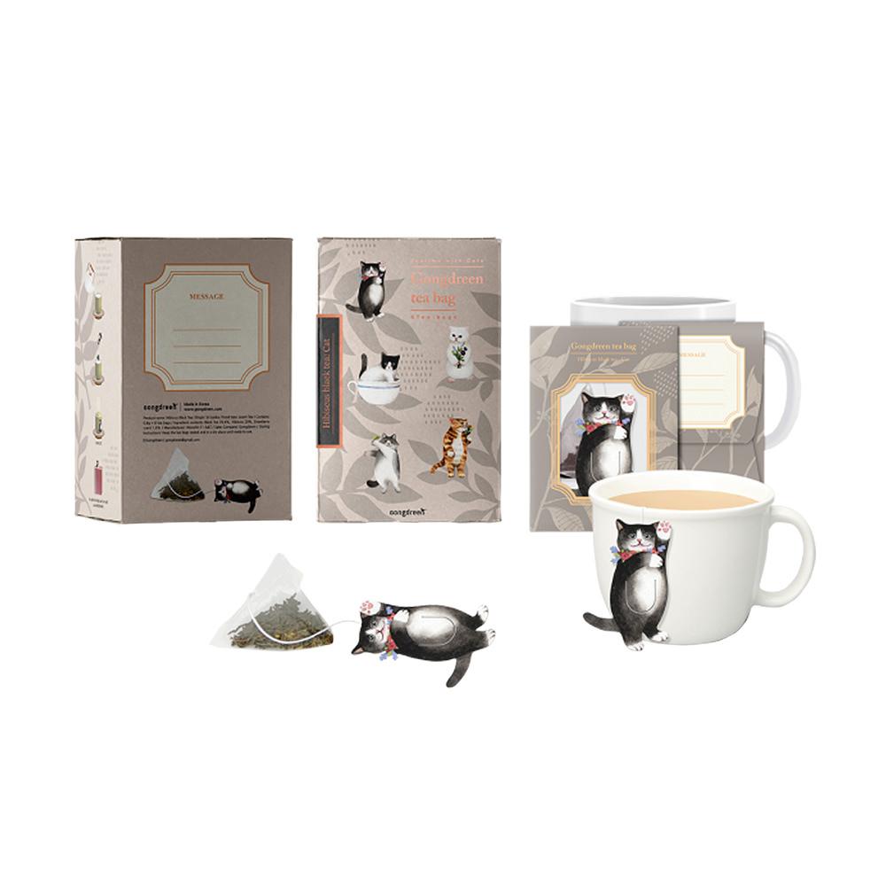 ハイビスカスティー(ネコ) Gongdreen 紅茶(ティーバッグ) 韓国 ゴンドリーン お茶 ティー 飲み物