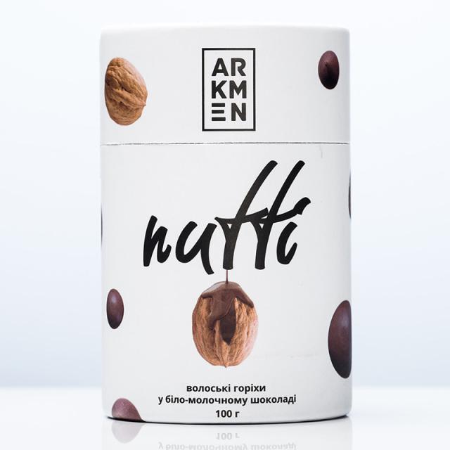 Arkmen アルクメン Nutti ウォールナッツ ミルクフレーバー&ミルクチョコレートアソート (筒) チョコ ナッツ くるみ