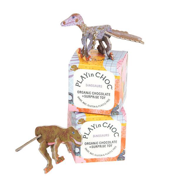 パズル付き オーガニックチョコレート(恐竜シリーズ) 20g PLAYin CHOC ltd イギリス 輸入 チョコ チョコレート
