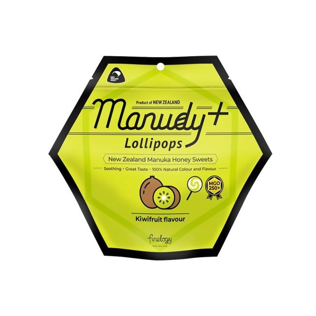 MANUDY+ マヌカハニー・ロリポップ・キウイフルーツフレーバー(天然キウイフルーツ香料使用) 3本 キャンディ