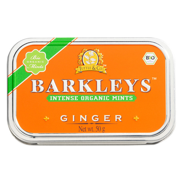オーガニックミントタブレット(ジンジャー味) 50g 有機清涼菓子 ドイツ タブレット BARKLEYS バークレイズ
