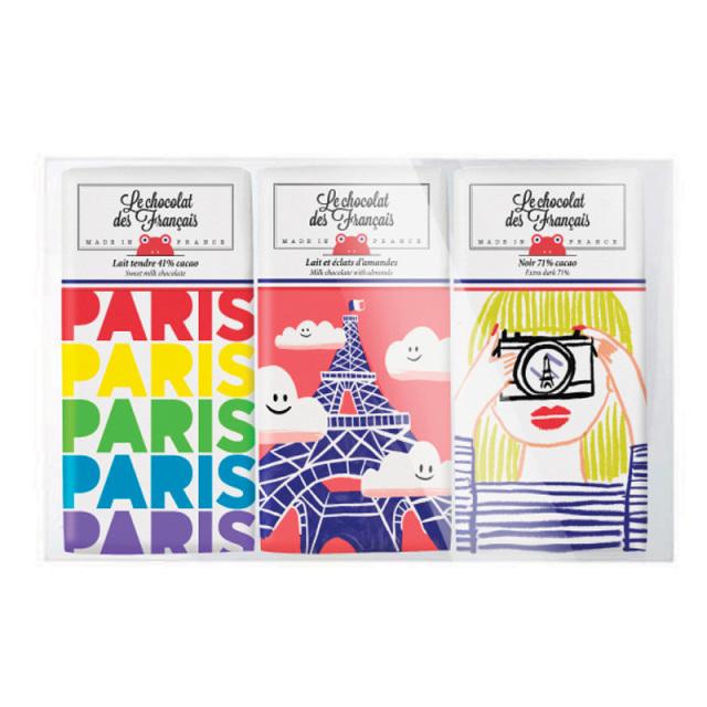 Le chocolat des Francais(ル・ショコラ・デ・フランセ)30gx3枚セット パリマルチコロール/エッフェル塔/フォトグラファー(ミルク41%/ミルク・アーモンド/ダーク71%)