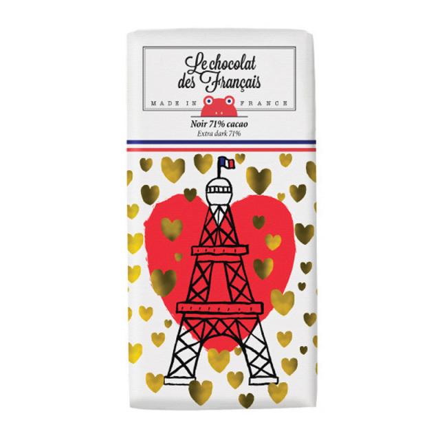 Le chocolat des Francais ル・ショコラ・デ・フランセ エッフェル塔&ハート/ダーク カカオ71% 80g チョコレート フランス チョコ