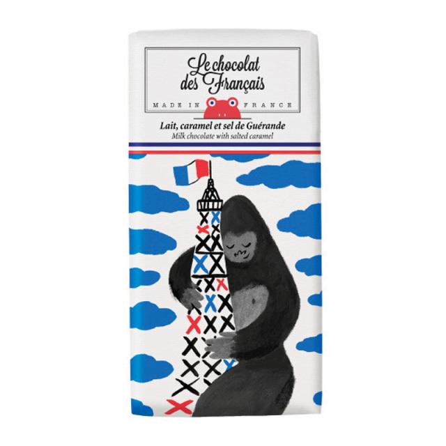 Le chocolat des Francais(ル・ショコラ・デ・フランセ)エッフェル塔&キングコング/ミルク・塩キャラメル(カカオ41%) 80g