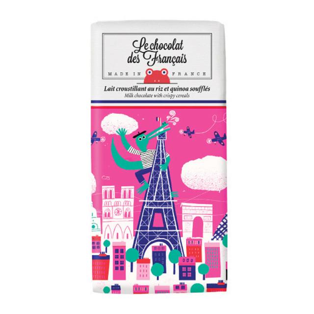 Le chocolat des Francais ル・ショコラ・デ・フランセ クロコダイル/ミルククリスピーシリアル カカオ41%  80g チョコ チョコレート