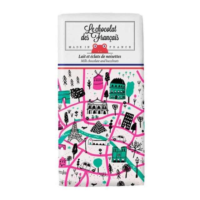 Le chocolat des Francais(ル・ショコラ・デ・フランセ)パリ地図/ミルク・ヘーゼルナッツ(カカオ41%) 80g