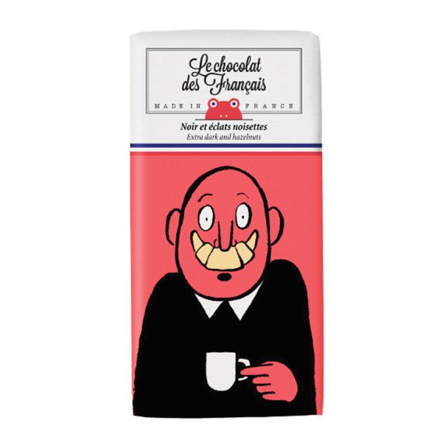 Le chocolat des Francais ル・ショコラ・デ・フランセ 大笑い/ダーク・ヘーゼルナッツ カカオ 71% 80g チョコ チョコレート フランス