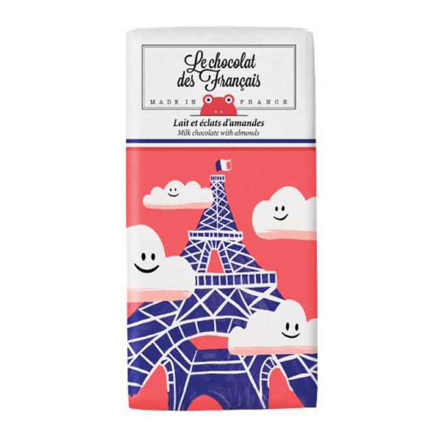 Le chocolat des Francais(ル・ショコラ・デ・フランセ)エッフェル塔/ミルク・アーモンド(カカオ41%) 80g