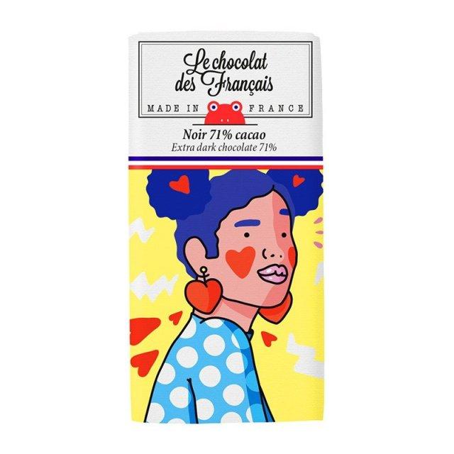 Le chocolat des Francais(ル・ショコラ・デ・フランセ)ハートピアス・イエロー/ダーク(カカオ71%)チョコ チョコレート フランス