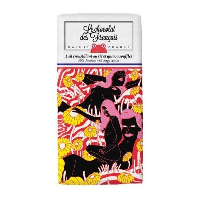 Le chocolat des Francais(ル・ショコラ・デ・フランセ)サイケデリック 80g ミルク・クリスピーシリアル カカオ41% チョコレート