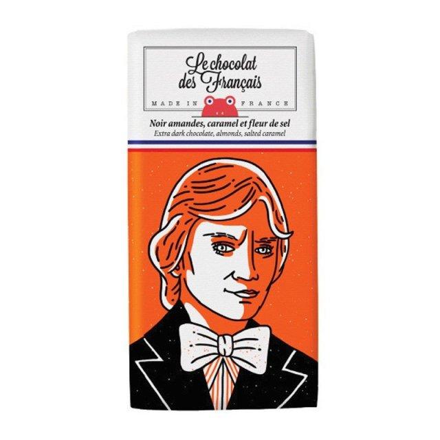 Le chocolat des Francais (ル・ショコラ・デ・フランセ) 歌手 80g ダーク・アーモンドソルトキャラメル カカオ56% チョコレート フランス