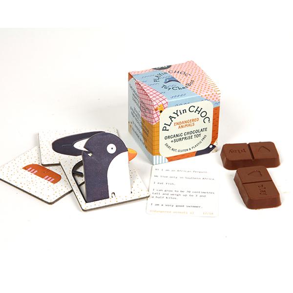 パズル付き オーガニックチョコレート(絶滅危惧種シリーズ) 20g PLAYin CHOC ltd イギリス 輸入 チョコ チョコレート