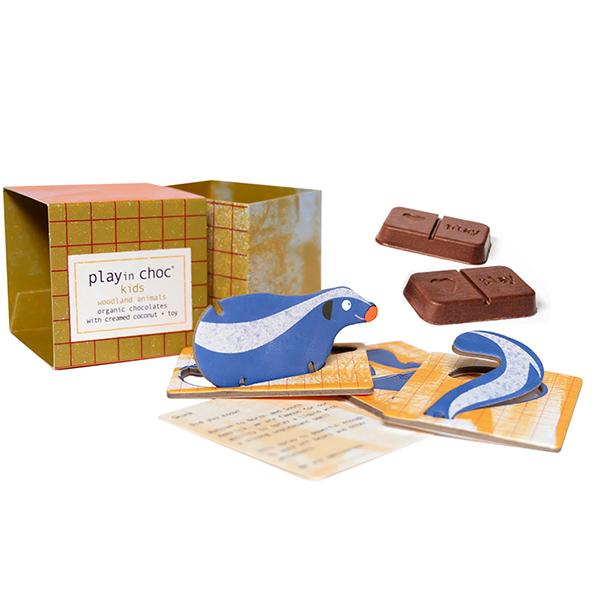 パズル付き オーガニックチョコレート(森の動物シリーズ) 20g Play in Choc ltd イギリス 輸入 チョコ チョコレート