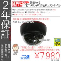 【2年保証】防犯カメラ(AHD200万画素)|ドーム型|超高画質・証拠保管重視|画角自由レンズ|ES-CD619AW/C
