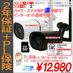 【2年保証】防犯カメラ・WiFi-SDカード録画カメラ|1080P・200万画素|標準SD32GB付属|ES-CW620F